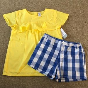 NWT Carter's Yellow Top & Blue Gingham Shorts 8